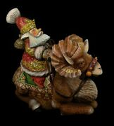 Magnificent Russian Santa Hand Carved And Painted Riding A Sheep 1051