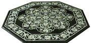 36 Black Marble Table Top Mother Of Pearl Inlay Art Handmade Floral Work