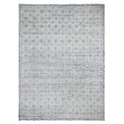 9and0391x11and0399 Snow Flake Design Tone On Tone Woolen Handknotted Oriental Rug R47834