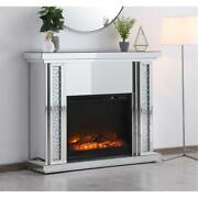 Mirrored Crystal Electric Fireplace Mantle Faux Logs Living Room Bedroom 47.5