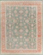 10and039x13and039 Muted Green All-over Oushak Egyptian Oriental Area Rug Wool Hand-knotted