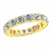 3.60ct Classic Prong Stackable Eternity Band Ring Round Cut Diamond 14k Gold