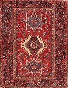 Antique Geometric Tribal Red Gharajeh One-of-a-kind Heritage Area Rug Wool 5and039x6and039