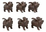 Cast Iron Small Whimsical Flying Pig Angel Hog Statue Paperweight Decor Set Of 6
