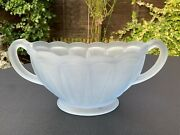 Antique Art Deco Frosted Blue Pressed Glass Bowl Two Handles Posy Bud Vase 1930s
