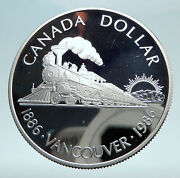 1986 Canada Vancouver With Uk Queen Elizabeth Ii Train Proof Silver Coin I81014