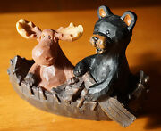 Moose And Black Bear Wood Carved Canoe Figurine Country Lodge Cabin Home Decor