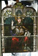 + Fine Older Stained Glass Church Window Of A Pope + Germany 17 Chalice Co