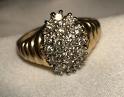 Vintage 80andrsquos 14k Yellow Gold Ring .5 Carat Diamond Cluster Ring Size 6.5 Igp