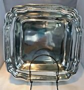 New Vintage Holland Boone Polished Pewter Square Serving Bowl 11.75 X 1.75''