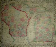 Vintage 1869 Michigan - Wisconsin Map Old Antique Original And Authentic Atlas Map