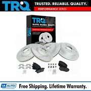 Trq Front Rear Ceramic Brake Pad And Performance Drilled Slotted Rotor Kit