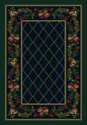 Milliken Blue Contemporary Holiday Festive Area Rug Floral Fruit Medley Sapphire