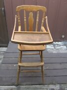 Original Vintage Wooden Highchair With Feeding Tray Infant Wood Seat High Chair
