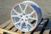 18x8 5x114.3 +35 White Red Type R Style Wheels Fits Honda Civic Si S2000 Accord