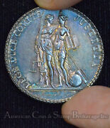 France 1805 32mm Silver 1 Year Of French New Law Scarce Medal Rainbow Tone