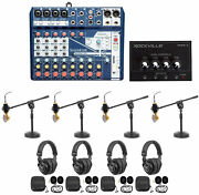 Soundcraft 4-person Podcast Podcasting Recording Kit Mics+headphones+boom Stands