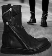 Combat Boots Menand039s Punk Leather Zipper Cowboy Round Toe Gothic Shoes Ankle Boots