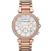 Mk5491 Parker Chronograph Ladies Wristwatch - Mother Of Pearl/rose…
