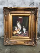 41 Beautiful 17andrdquox15andrdquo Framed Oil Painting 4 Cats Playing Rug Antique Style Rare