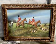 """Beautiful 31.5""""x43.5"""" Frame Oil Colonial Painting English Horse Rare Hand Pain"""