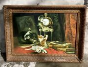 Beautiful 43.5andrdquox31.5andrdquo Framed Oil Painting Of 5 Cats Playing Antique Style Globe