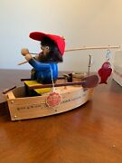 Steinbach Smoker Fisherman In Boat S767 Signed  Musical/ Forward Motion