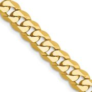 Menand039s 6.25mm 14k Yellow Gold Solid Beveled Curb Chain Necklace
