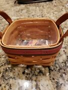Longaberger 1999 Fathers Day Golf Tee Basket Leather Handles Protector Excellent