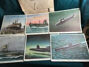 1950and039s General Dynamics Corp. Set Of 8 Submarine Prints 6 Good 2 Damaged Orig.