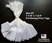 Garage Sale Price Tags Size 5 Blank White Merchandise Hang String Strung