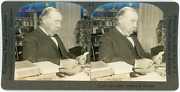 Stereo, Usa, Ex President Cleveland At His Desk, Circa 1900 Vintage Stereo Card