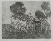Etching Print Run Down Old Farm Shed Echuca Signed Mp Artist Unknown 1984