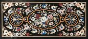 4and039x2and039 Black Marble Large Dining Room Center Table Top Marquetry Inlay Decor E501