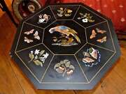 36 Black Marble Top Octagon Dining Table Pietra Dura Birds Marquetry Home Art