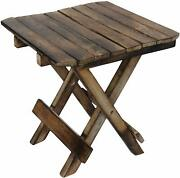 Wooden Handicarft Folding Stool For Living Room Side Table 12inch Brown