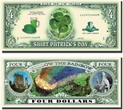 Set Of 1000 - St. Patrickand039s Day Four Leaf Clover 4 Dollar Money Bill Lucky Note