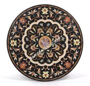 36 Elegant Round Marble Dining Table Top Floral Inlay Work Collectible Art E507