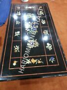 4and039x2and039 Black Marble Dining Table Top Marquetry Inlay Restaurant Decor E962a