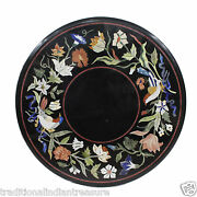 24 Black Marble Coffee Table Top Marquetry Inlay Floral Christmas Gift Decor
