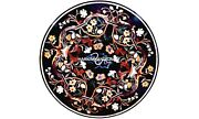 Marble Dinner Top Table Elegant Marquetry Stone Inlaid Hallway Decorated H5645
