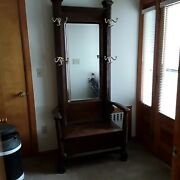 Antique Ny Empire Style Victorian Quartersewn Oak Hall Tree W/mirror And Bench.
