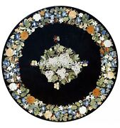 Stunning Floral Marble Table Black Top Inlaid Grapes Design Restaurant Art H4812
