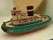 Vintage Trade Mark Modern Toys Tin Litho Battery Operated Tug Boat Toy