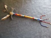 Native American Indian Dance Wand, Quilled And Beaded Buffalo Club,  Atl-04025
