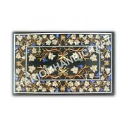 4and039x3and039 Marble Black Inlay Dining Table Top Marquetry Collectible Inlay E992a