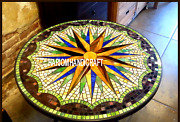 Gemstone Mosaic Multi Stone Marble Dinette Top Inlay Precious Outdoor Arts H3436