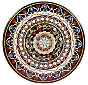 Black Marble Center Table Tops Scagliola Inlaid Collectible Art Home Decor H3479