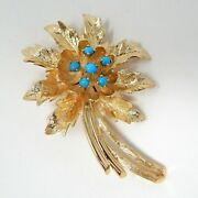 14 Kt Yellow Gold Floral Motif Brooch Pin Turquoise Blue Stones A7756