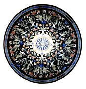 Black Marble Dining Round Table Top Mosaic Rare Stone Real Inlay Art Decor H2913